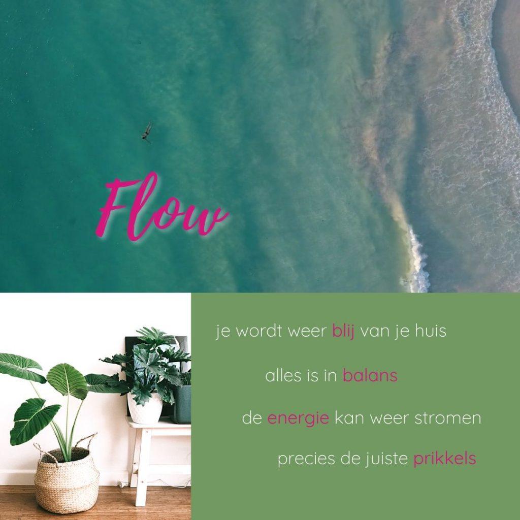 FLOW je wordt weer blij van je huis, alles is in balans, de energie kan weer stromen, precies de juiste prikkels